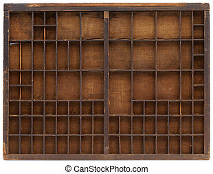 de madera, vendimia, typesetter, caso