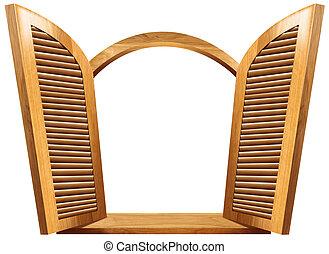 de madera, ventana, abierto