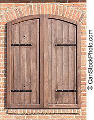 de madera, ventana, viejo, cerrado, obturadores