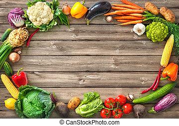 de madera, verduras frescas, plano de fondo