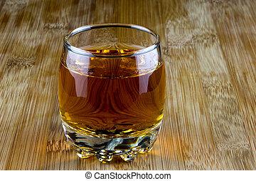 de madera, vidrio, escocés, superficie, whisky