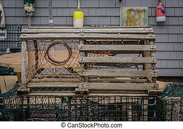 de madera, viejo, captura de langosta