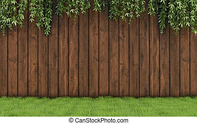 de madera, viejo, jardín, cerca