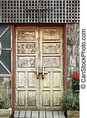 de madera, viejo, marco, puerta