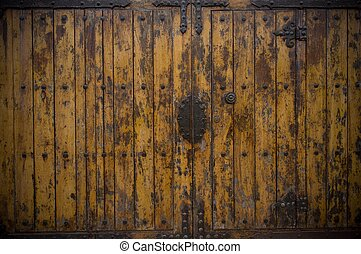 de madera, viejo, puerta