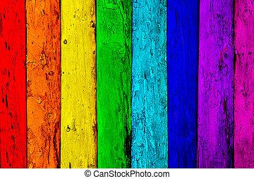 de madera, viejo, tablones, plano de fondo, multicolor