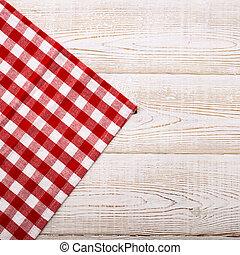 de madera, vista, a cuadros, mesa., mantel, cima, blanco