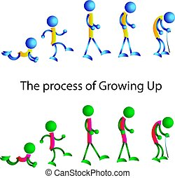 de, man, van, jonge, om te, oud, schematisch, gekleurd, figuren