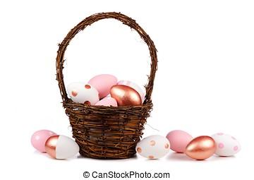 de mand van pasen, met, goud, roze, en, witte , paaseitjes, op, witte