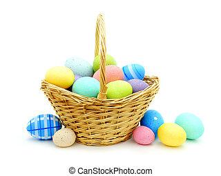 de mand van pasen, met, kleurrijke, eitjes