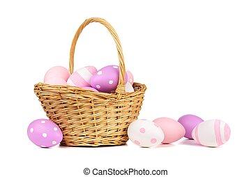de mand van pasen, met, roze, paarse , en, witte , paaseitjes, op, witte