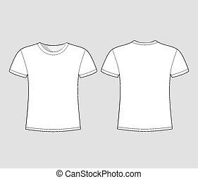 de, manga, homens, t-shirt, shortinho, branca