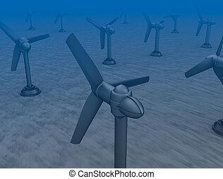 de marea, turbinas, onda