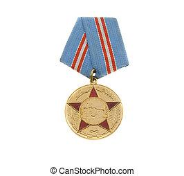 de, medaille, van, sovjet, helden, vrijstaand, op, witte...