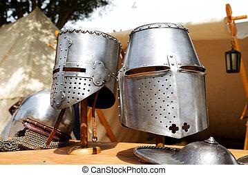 de, medival, ridders, helmen, in, mdin