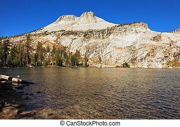 de, meer, in, bergen