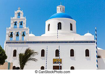 de, meest, beroemd, kerk, op, santorini eiland, greece.,...