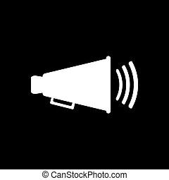 de, megafoon, icon., bullhorn, symbool., plat