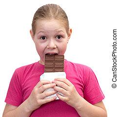 de, meisje, met, een, chocolade