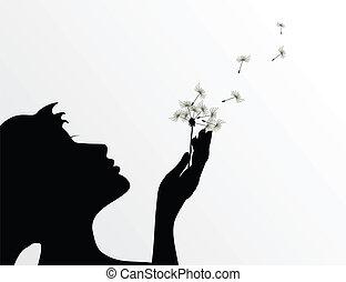 de, meisje, slagen, op, een, bloem, een, dandelion., een, vector, illustratie