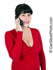 de, meisje, spreekt, op de telefoon