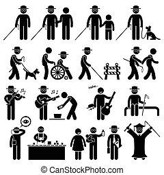 de mens van het cijfer, handicap, stok, blind