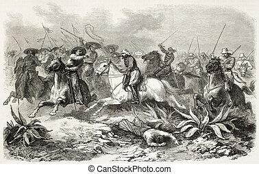General de Mirandol pursuiving Aureliano cavalry near Los Llanos, Mexico. Created by Worms, published on L'Illustration, Journal Universel, Paris, 1863