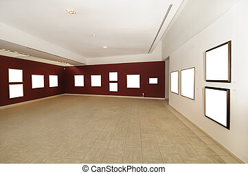 de moderne galerij van de kunst, ruimte, met, leeg canvas