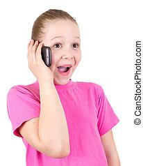 de, mooi, meisje, met, verbazing, spreekt, op de telefoon