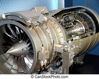 de, motor, van, vliegtuig