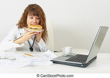 de, mujer de negocios, trabajo, arriba, sin, venida, apuros, comer