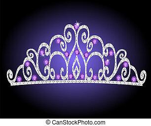 de, mujeres, tiara, corona, boda, con, púrpura, piedras