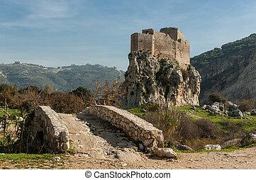de, mussaylaha, kasteel, en, zijn, litlle, steenbrug, in,...