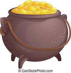 de, mythisch, pot van goud