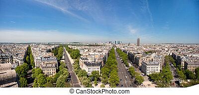 de, negócio, grande, paris, vista, defesa, skyline., armee, área, triomphe., avenue., arco, la