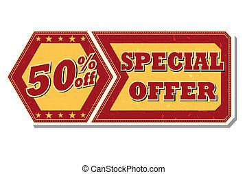 de, oferta, porcentajes, -, 50, etiqueta, retro, especial