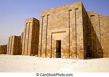 de, omtrek, muur, van, de, stap, piramide