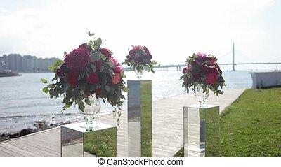 de, ontwerp, van, weddings., bouquetten, van, rood,...