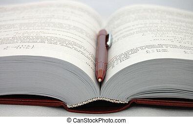 de, open, schoolboek, met, pen