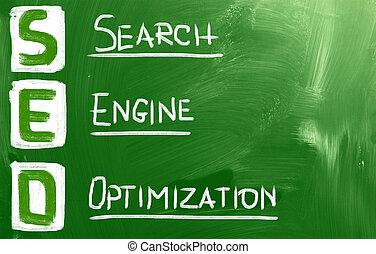 de optimalisering van de onderzoeksmotor, (, seo, ), concept