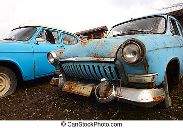 de, oud, roestige , auto