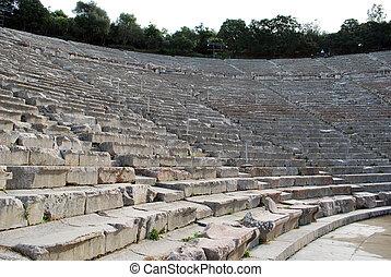 de, oud, theater, van, epidaurus, in, griekenland
