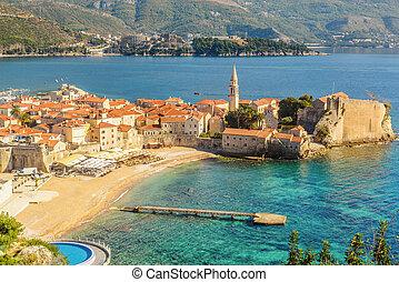 de, oude stad, van, budva, in, montenegro, aanzicht, van,...