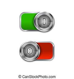 de, palanca, sliders, interruptor, en/lejos, posición