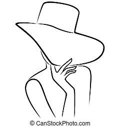de par en par, cueros, sombrero, cara, borde, dama