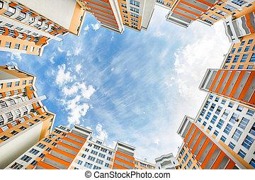 de par en par, edificios, ángulo, residencial, nuevo, tiro