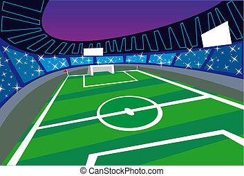 de par en par, futbol, ángulo, perspectiva, estadio