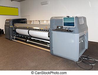 de par en par, impresora, formato, -, impresión, digital