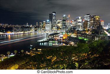 de par en par, muelle, cbd, luz, vista, tráfico, sydney, noche, cityscape, transbordador, senderos, circular