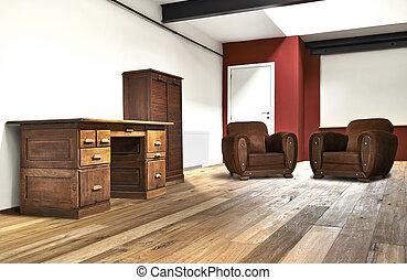 de par en par, oficina, piso, de madera, desván, interior